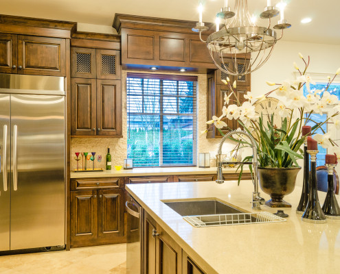 Gourmet kitchen with custom cabinetry